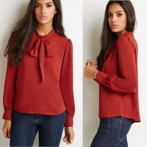 FOREVER21 Pussy Bow Tie High Neck Blouse